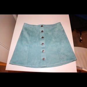 Forever 21 Mint Green Button Down Skirt